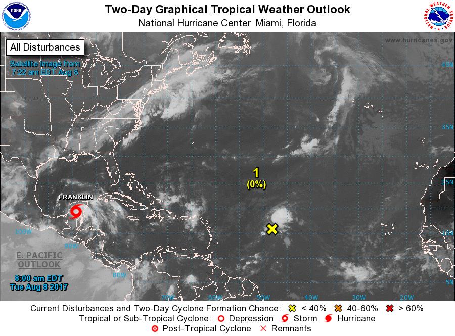 'Franklin' toca tierra con lluvias torrenciales en Campeche, Tabasco y Veracruz