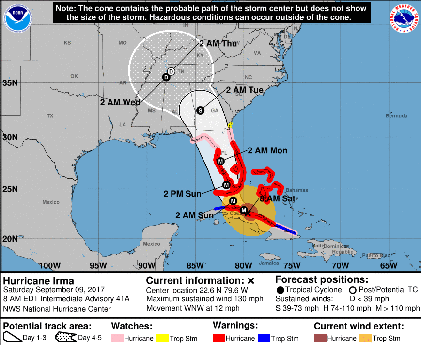 El huracán Irma tocó tierra en Cuba y se dirige a Florida