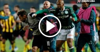 Partido entre Peñarol y Palmeiras de la Copa Libertadores terminan con pelea tumultuaria