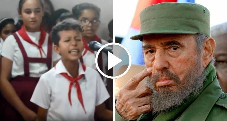 """Pioneros cubanos recitan """"Canción a Fidel"""", el """"novio de todas las niñas que tienen el sueño recto"""""""