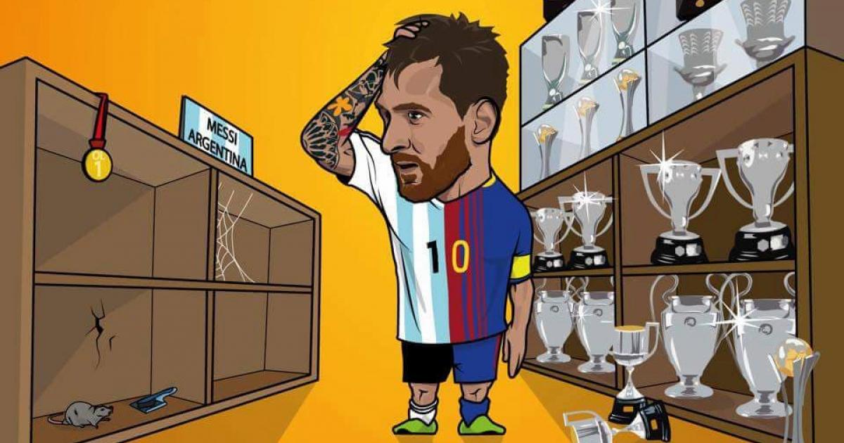 la caricatura de messi que refleja la realidad del argentino