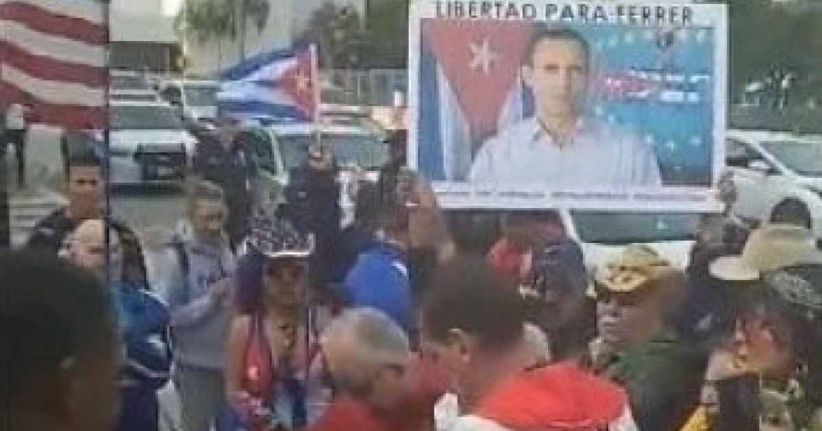 Cubanos en Miami se manifiestan por la libertad de José Daniel Ferrer - CiberCuba