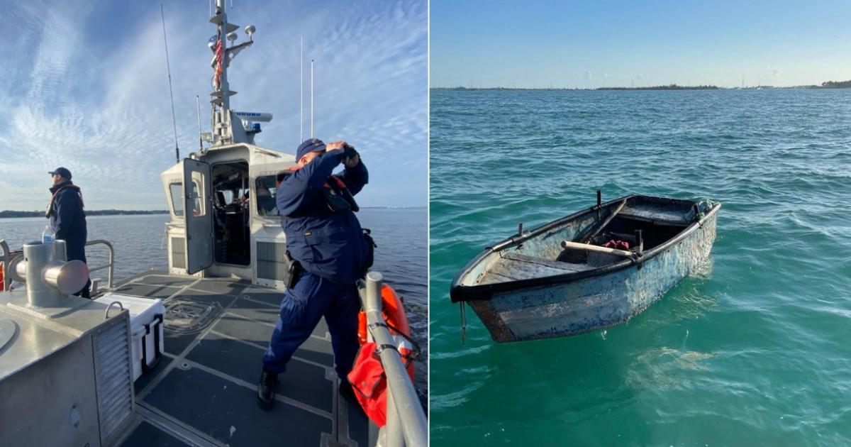 Küstenwache (Symbolbild) und das Boot der Flüchtlinge | Bildquelle: https://t1p.de/34wq © Twitter / USCG | Bilder sind in der Regel urheberrechtlich geschützt
