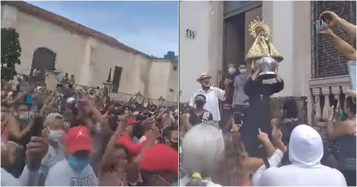 Virgen de la Caridad del Cobre bendice a manifestantes en las calles de  Bejucal